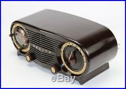 Vintage 1952 Zenith Art Deco S-18535 Owl Eyes Working Tube Radio withAlarm Clock