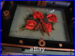 Vintage 50s Four Roses Whiskey Lighted Sign Clock Art Deco Vintage