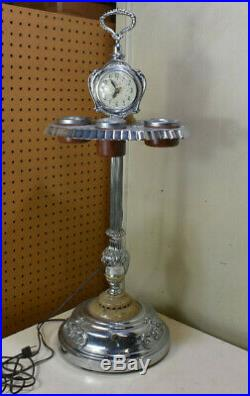 Vintage Art Deco 1930's Smoking Stand Estate Find Lanshire Clock Glass Lighter