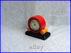 Vintage Art Deco Bakelite Clock Catalin Burgundy Butterscotch Black Benedict 30s