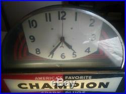 Vintage Art Deco Champion Spark Plugs Clock Light