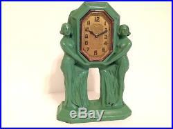 Vintage Art Deco Frankart Style Clock Nude Twins Holding Clock c. 1920's Exc+