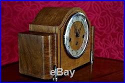 Vintage Art Deco German 8-Day Oak Mantel Clock'Foreign' with Wesminster Chimes