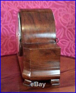 Vintage Art Deco German'HAC' 8-Day Walnut Case Striking Mantel Clock