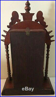 Vintage Art Deco Gong Chime Asian Eight Day Shelf Mantle Clock Works Great