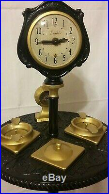 Vintage Art Deco Lighted Slag Glass Smoking Stand With Clock