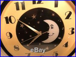 Vintage Art Deco Moon And Stars Plastic Wall Clock 16.75 x 16.75