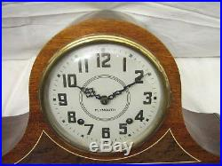 Vintage Art Deco Plymouth Tambour Camel Back Shelf/Mantle Chime Clock withKey