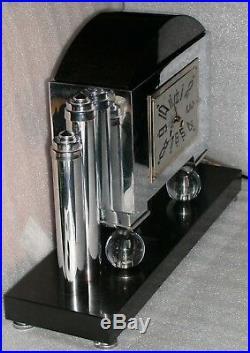 Vintage Art Deco Portico Mantle Clock T&S Glass Chrome Slate Arch Bonvoisin 19