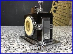 Vintage Art Deco RONSON Touch Tip Clock Table Lighter 1930s Chrome & Enamel