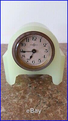 Vintage Art Deco SEIKOSHA Desk Clock Japan Jade Vaseline Colored