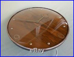 Vintage Art Deco Smiths Sectric 12 Wood & Copper Electric 240V Wall Clock