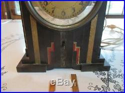 Vintage Art Deco Telechron Electrolarm Clock Brown Bakelite