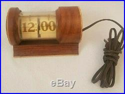 Vintage Art Deco Wood Flip Clock Numerical Flipclock Number Electric Antique
