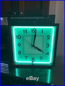 Vintage Carson Turquoise Neon Wall Clock Sign Art Deco Chicago Eames Era WORKS