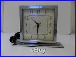 Vintage Chrome Art Deco Herman Miller Stepped Base Alarm Clock Parts or Repair