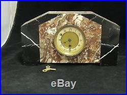 Vintage FRENCH ART DECO MARBLE MANTLE CLOCK Works great