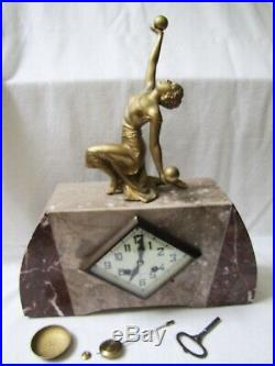 Vintage French Art Deco Lady Statue Marble Clock
