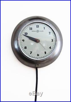 Vintage GILBERT ROHDE 8 Streamline Moderne Art Deco Wall Clock Herman Miller