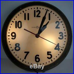 Vintage General Electric Art Deco Industrial Light Up Wall Clock Reverse Painted