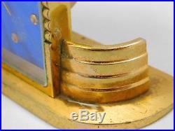 Vintage Imhof Art Deco Desk Alarm Swiss Clock Working 15 Jewels Gold Tone Cobalt