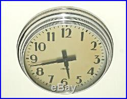 Vintage Industrial Wall Clock Art Deco Spun Aluminum