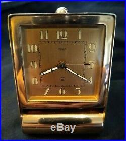 Vintage JAEGER Pink Copper 211m Art Deco Swiss Travel Alarm Clock