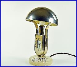 Vintage Lampe m. Uhr Tischuhr Tischlampe MOFÉM ART DECO clock light pendule lamp