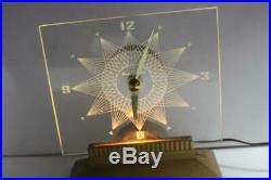 Vintage Lighted Mastercrafters Starlight Art Deco Clock, Model 146, Circa 1959
