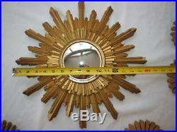 Vintage MidCentury Syroco Sunburst, Starburst Mirror Wall Set Art Deco RARE
