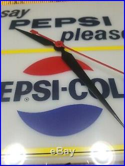 Vintage Pepsi Cola Advertising Clock Metal Frame Electric Art Deco Working
