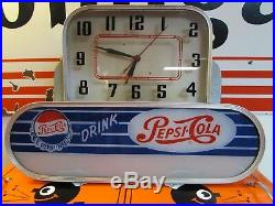 Vintage Rare Nice Pepsi Cola Lighted Clock 1950's Glass Rare Art Deco