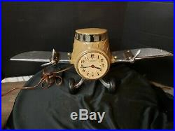 Vintage SESSIONS Art Deco Airplane CLOCK Mastercrafters chrome