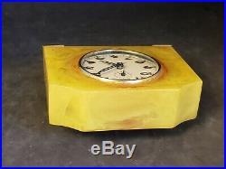 Vintage Seth Thomas Catalin Swirl Art Deco Wind-Up Alarm Desk Clock