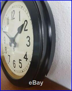 Vintage Siemens Halske Wall Clock Art Deco Industrieal Fabrikuhr Nebenuhr