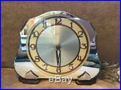Vintage Smith SecTric. Art Deco Mirrored Electric Mantle, Table Clock