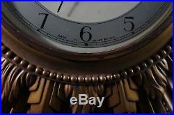 Vintage Smiths Gilt Framed Large Sunburst Wall Clock Art Deco Battery