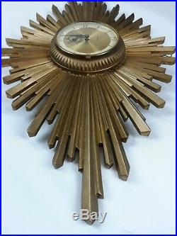 Vintage Syroco MidCentury Starburst Sunburst 8 Day Key Wall Clock Art Deco RARE