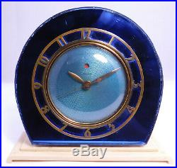 Vintage Telechron Art Deco Mantle Clock Blue Mirrored