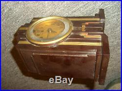 Vintage Telechron SKYSCRAPER Art Deco Brown Bakelite Alarm Clock Complete