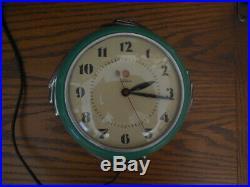 Vintage Telechron Wall Clock Art Deco Stewardess Jadeite Green 2H09