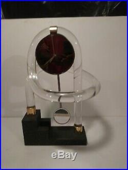 Vintage Twisted Lucite & Mirror Pendulum Mantel Clock