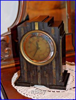 Vintage Warren Telechron Skyscraper Antique Old Art Deco Bakelite Working Clock
