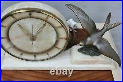 Vintage White Marble mantel clock with Bronze or Brass bird Art Deco clock table