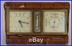 Vintage Working 1937 Movado Factories, Art Deco Brass Clock & Barometer Desk Set