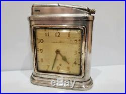 Vintage Working 1948 Streamline Art Deco Phinney Walker Clock & Desk Lighter