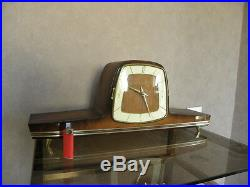 Vintage mantel wood clock CHIMING HERMLE Electro-Mechanical Battery art deco vtg