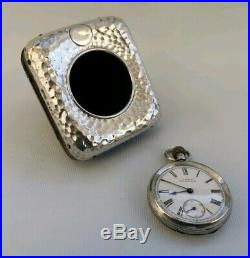 Vtg 1904 Art Deco Solid Silver Travel Clock & 1899 Waltham Hillside Pocket Watch