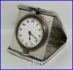 Vtg 1921 William Neale Art Deco Solid Silver Folding Pocket Travel Watch Clock