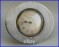 Vtg 1927 PMI Ltd Art Deco Solid Silver Oval Easel Stand Swiss Desk Travel Clock